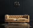 Leinwanddruck Bild - Elegant interior, living room with beige velvet sofa