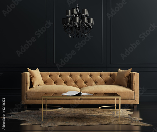 Obraz Elegant interior, living room with beige velvet sofa - fototapety do salonu