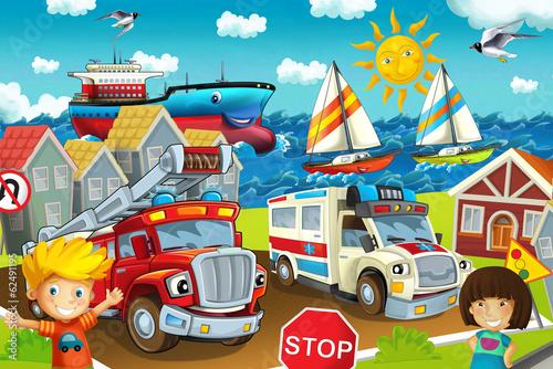 Fototapety, obrazy: Cartoon street - illustration for the children