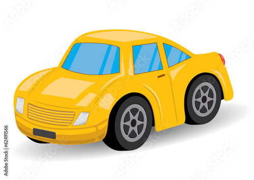 Staande foto Cartoon cars Yellow Sports Car Cartoon - Vector Illustration