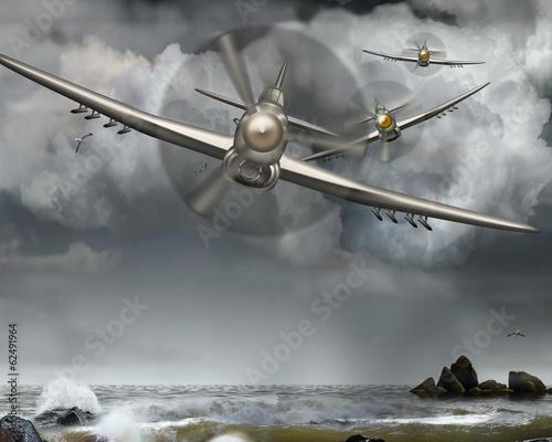 Cuadros en Lienzo Luftkampf, Kamikaze, Weltkrieg