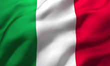 Flag Of Italy Blowing In The Wind. Full Page Italian Flying Flag. 3D Illustration.