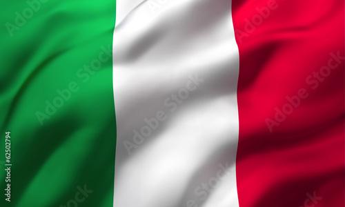 Fototapeta Flag of Italy blowing in the wind. Full page Italian flying flag. 3D illustration. obraz