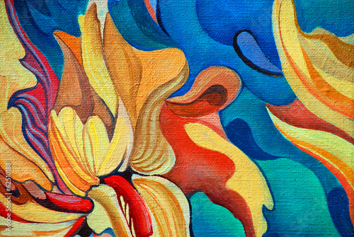 Fototapety, obrazy: decorative flower painting by oil on canvas, illustration