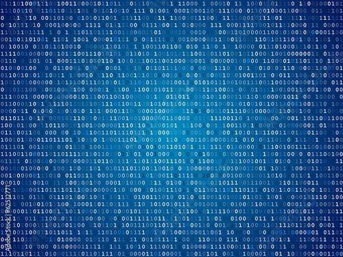 Fotografía  Blue screen binary code screen
