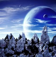 Fototapeta krajobraz nocny z planetami