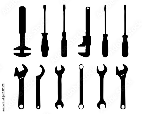 Black silhouettes of screwdriver and screw wrench, vector Fototapet