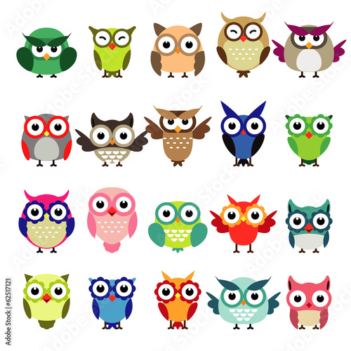 Poster Uilen cartoon set of owls