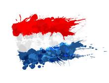 Flag Of Netherlands Made Of Colorful Splashes