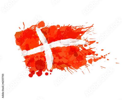 Foto Kingdom of Denmark flag made of colorful splashes