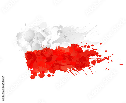 Polish flag made of colorful splashes