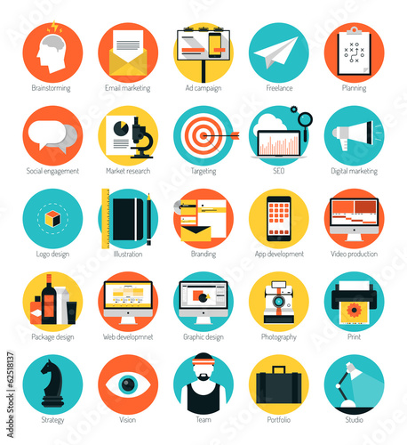 Fotografía  Marketing and design services flat icons set