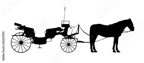 Photo old style carriage with one horse in harness silhouette