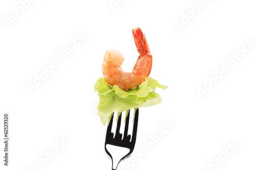 Printed kitchen splashbacks Fresh vegetables Shrimp on fork.