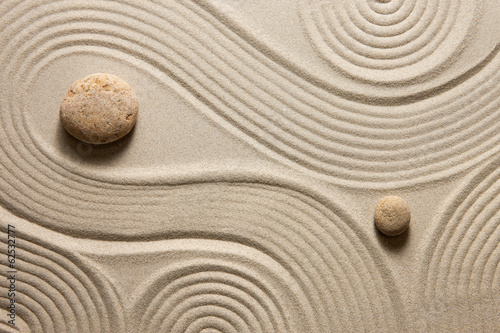 Recess Fitting Stones in Sand Zen garden
