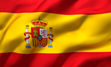 Flag Of Spain Blowing In The Wind. Full Page Spanish Flying Flag. 3D Illustration.
