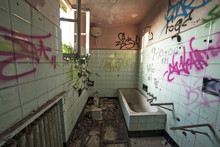 Dirty And Decayed Bathroom In ...