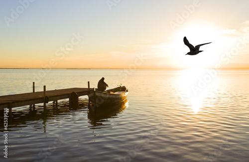 Fotografering  el pescador pensativo