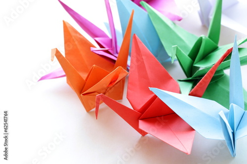 colorful paper origami birds on a white background Poster
