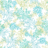 Vector scattered blue green branchesl seamless pattern
