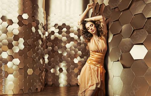Printed kitchen splashbacks Artist KB Brunette lady dancing in the shiny room