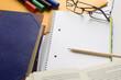 Empty White Notebook Glasses Pencil