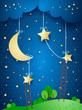 Fantasy landscape by night