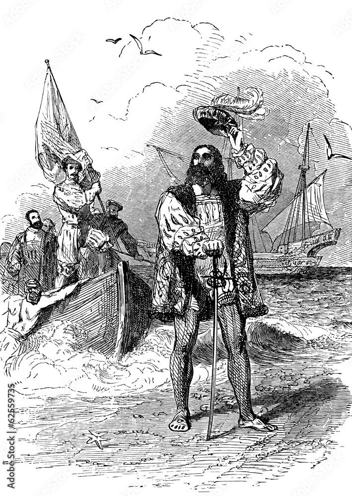Fotografía Christopher Columbus landing in America   Europosters.es