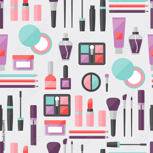 Cotton fabric Seamless background with cosmetics icons.