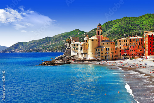 Poster Dark blue Italian holidays on pictorial Ligurian coast - Camogli