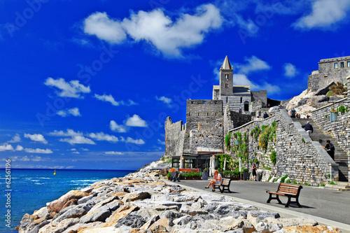 Fotobehang Donkerblauw pictorial Italy - Portovenere, Cinque terre