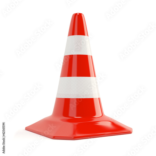 Fotografia  Road traffic cone with reflective bands isolated
