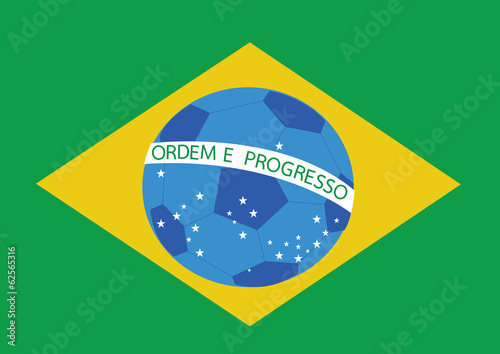 Map and Soccer foot ball  Brazil Poster
