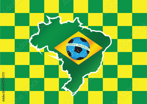 Photo  Map and Soccer foot ball  Brazil