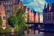 canvas print picture - Ghent canal. Ghent, Belgium