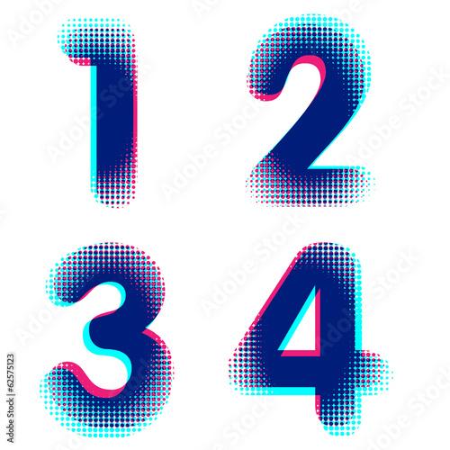 Fotografie, Obraz  Vector raster spotted polka dot alphabet letters