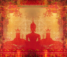 Silhouette Of A Buddha,Asian Landscape In Grunge Texture