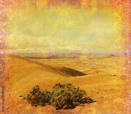 Garden Poster Fantasy Landscape grunge paper with the landscape - Mountain in Fuerteventura