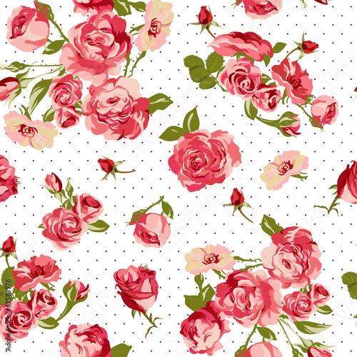 Fototapeta czerwone róże na białym tle w czarne kropki