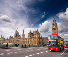 London. Classic Red Double Decker Buses on Westminster Bridge