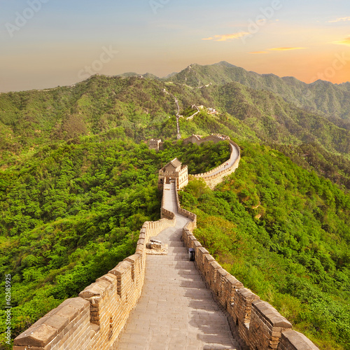 Great Wall of China during sunset Canvas Print