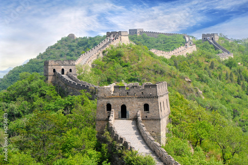 Foto op Canvas Chinese Muur Great wall of China in Summer