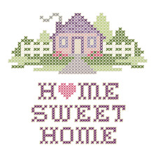 Home Sweet Home Cross Stitch Needlework Embroidery, Pastel Heart