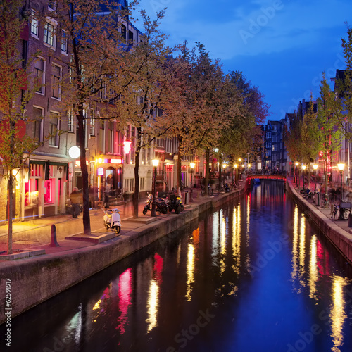 Photo  Red Light District in Amsterdam