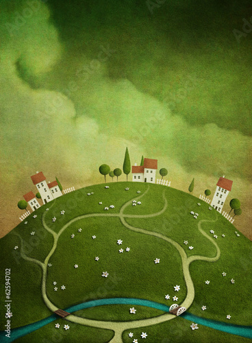 Foto op Canvas Groene Background with houses on the hill.