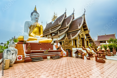 Wall Murals Place of worship Thai Buddhist Temple in Chiang Mai,Thailand