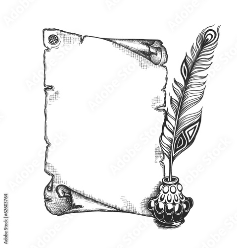 Photo Beauty feather and blank scroll. Quill pen, inkwell
