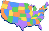 Fototapeta Nowy Jork - mapa USA i stany
