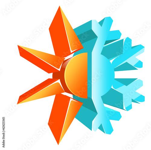 Fotografie, Obraz  Hot and cold temperature symbol