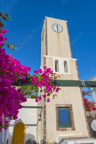 Staande foto Athene Greece Santorini island in cyclades, wide angle Church view